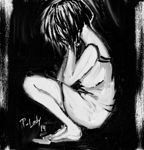 """Self illustration by me... No I am not crying, I just sit by the wall, take my head in my hands and stay like that for hours... Thinking, if you wanna be optimistic, but this, is """"not"""" thinking at all..."""